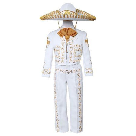Boys White Gold Embroidered Mariachi Pants Jacket Hat Set