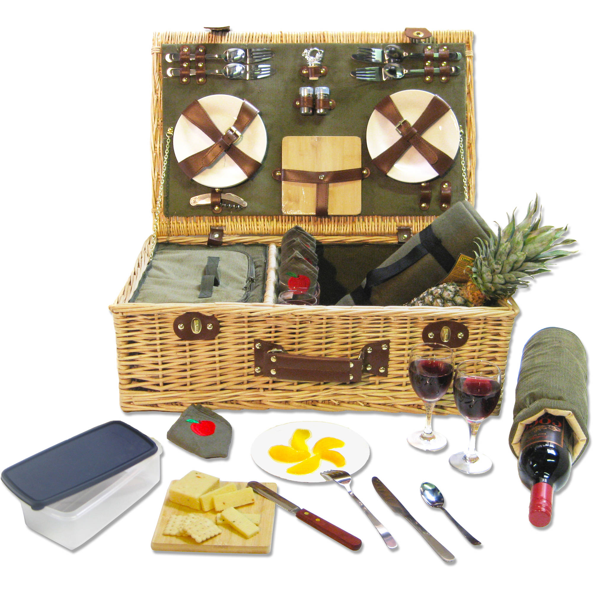 Picnic Pack SGI-WB101 Willow Picnic Basket for 4, Olive Green by Picnic Pack