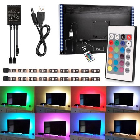 EEEKit 2PCS 50cm USB LED TV Light Strip 5V RGB LED Mood Background Lighting + IR Remote for Smart TV HDTV