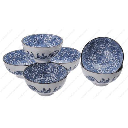M.V. Trading NS2004 Japanese Blue and White Rice Bowls Design, 8-Ounces, 4½-Inches, Set of 6 ()