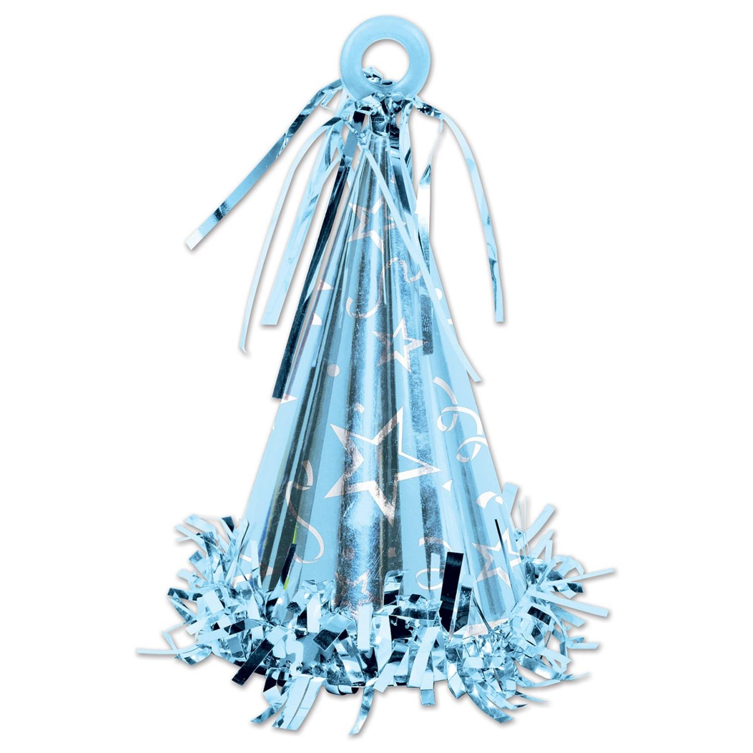 Club Pack of 12 Light Blue Party Hat Balloon Weight Decorative Birthday Centerpieces 6 oz.