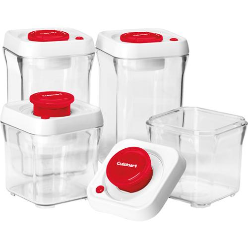 Cuisinart 8 Piece Set Fresh Edge Patented Vacuum Seal Food Storage System,  Red