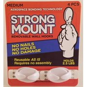 STRONG MOUNT Removable & Reusable Wall Hooks - Medium