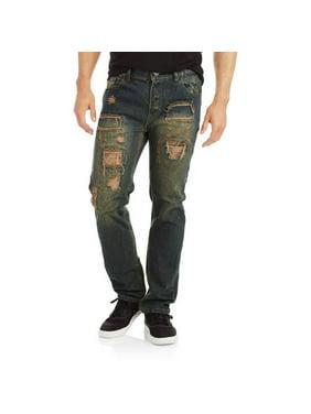 Men's Slim Straight Rip and Repair Jeans