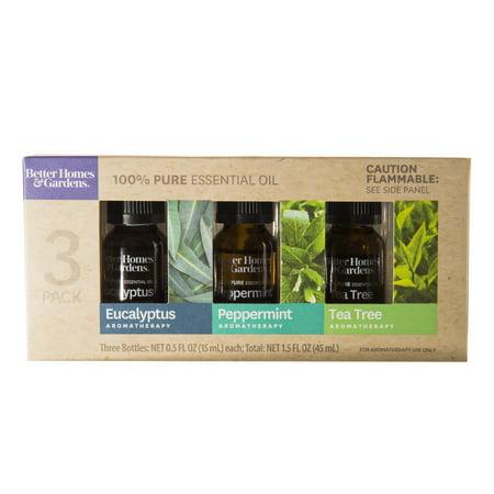 Garden Furniture Oil (Better Homes & Gardens 3 Pack 100 % Pure Essential Oil Set: Eucalpytus, Peppermint and Tea Tree )