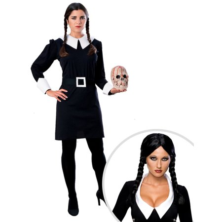 Women's Wednesday Addams Costume and Deluxe Wednesday Addams Wig for Adults