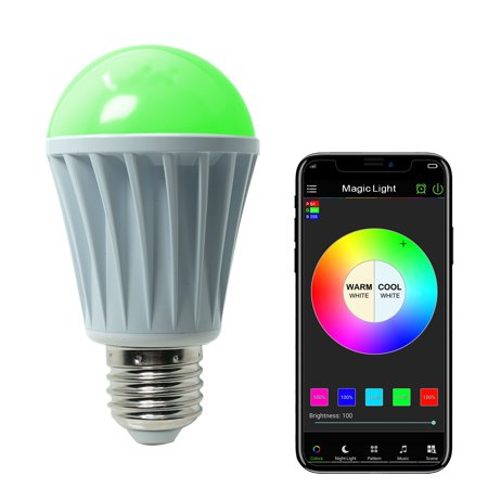 Google Lcd (MagicLight WiFi Controlled LED Sunrise Wake Up Lights - 60w Equivalent Dimmable Multicolored Full Spectrum Bulb - Compatible with Alexa & Google Home Assistant )