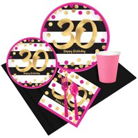 Pink & Gold 30th Birthday Party Pack for 8