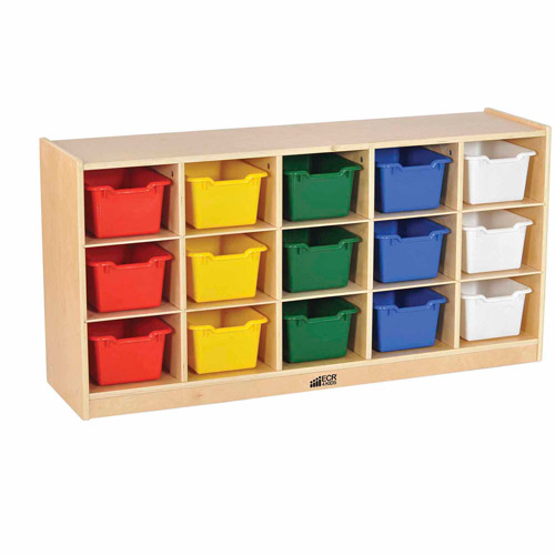 15-Tray Cabinet with Bins, Natural