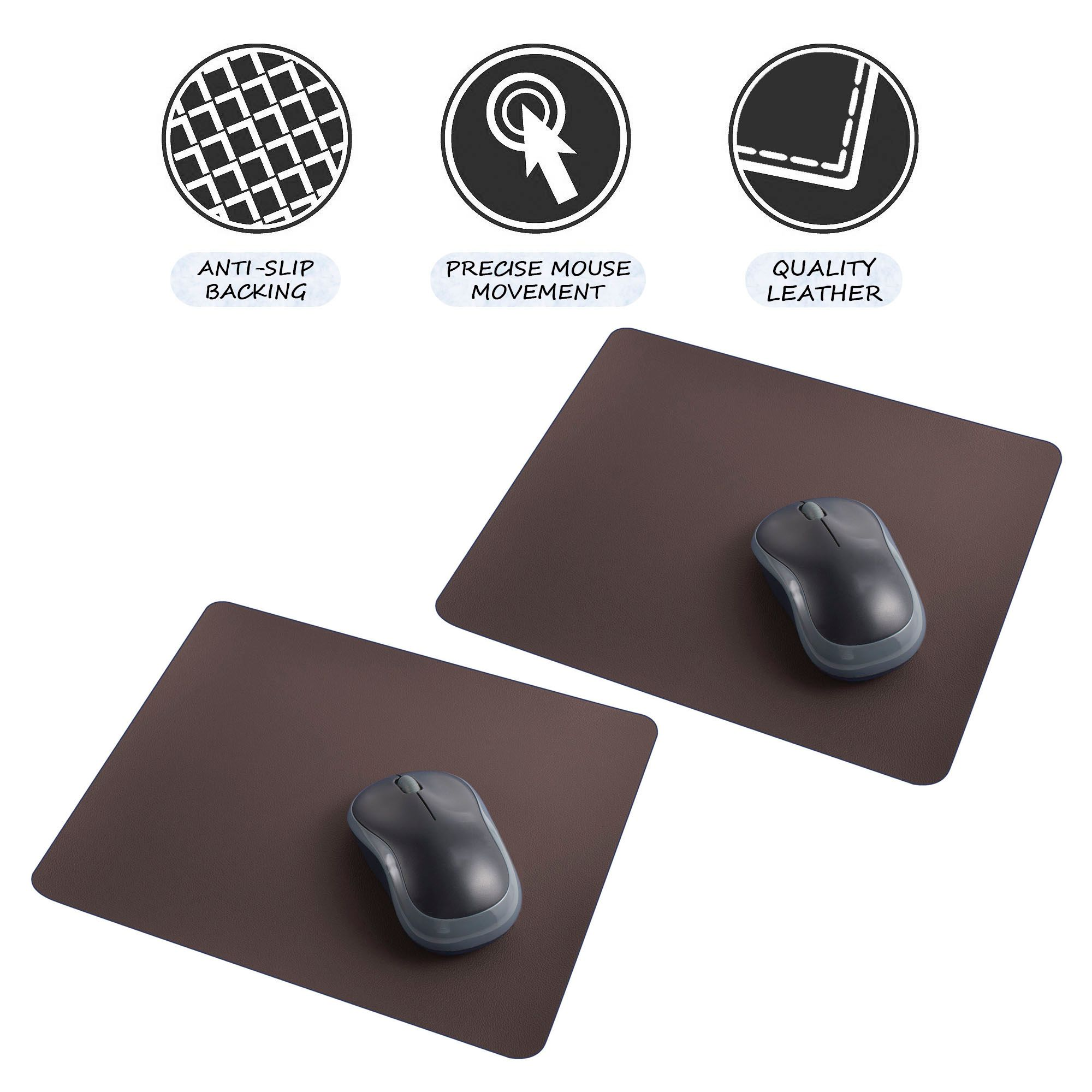 Leather Mouse Pad by Insten 2-Pack Premium Leather MousePad with Non Slip & Super Smooth & Elegant Stitched Edges (Size 9.45 x 7.87 inch) Brown