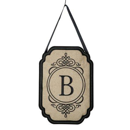 Evergreen Elegant Monogram B Burlap Door Decor - Burlap Decor Ideas