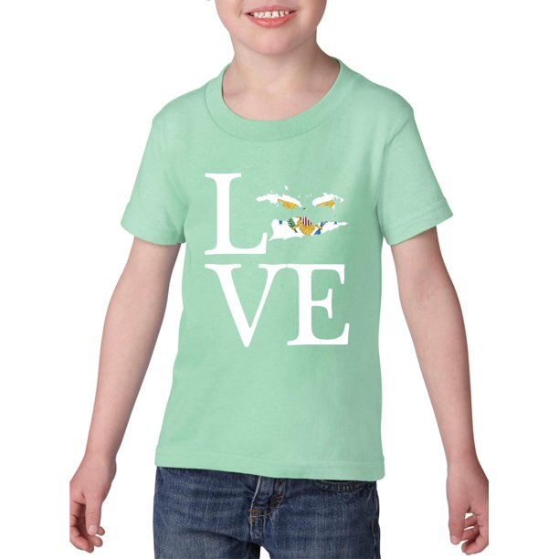 Love US Virgin Islands Heavy Cotton Toddler Kids T-Shirt Tee Clothing