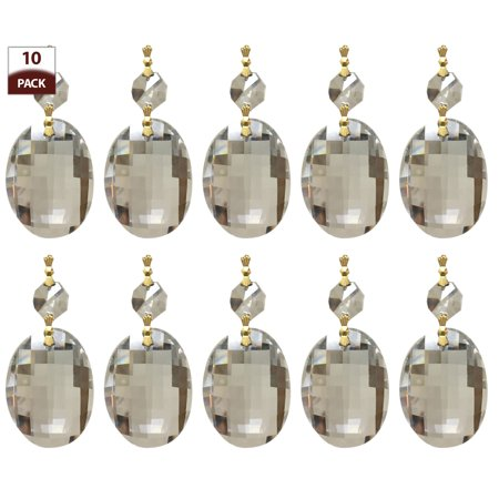 Royal Designs 10 Pack Chandelier Replacement Crystal Prisms Clear Oblate Cut One Bead Polished Brass