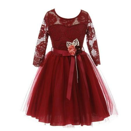 Girls Burgundy Floral Lace Long Sleeve Mesh Overlay Flower Girl Dress