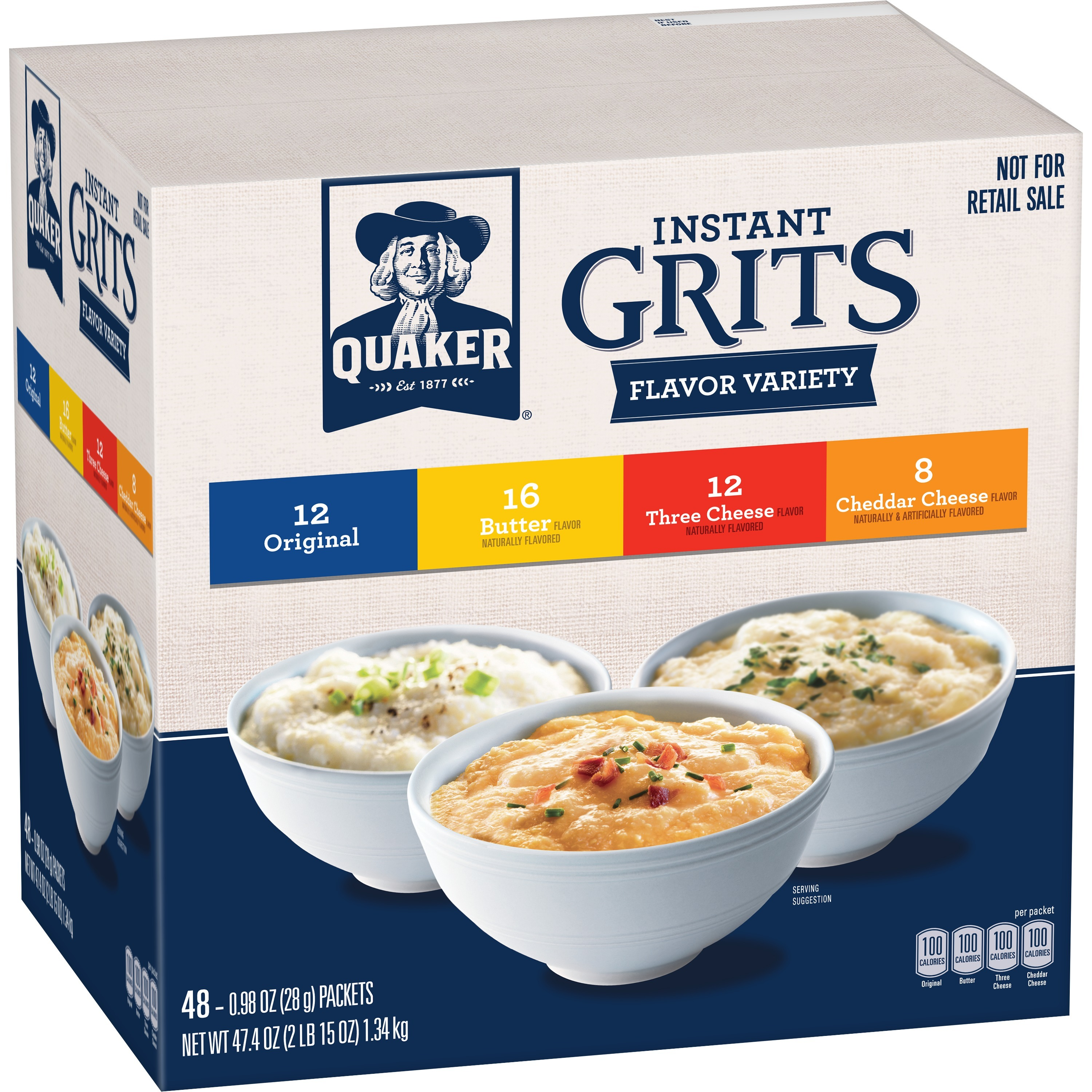 Quaker Instant Grits Variety Pack, 48 Packets