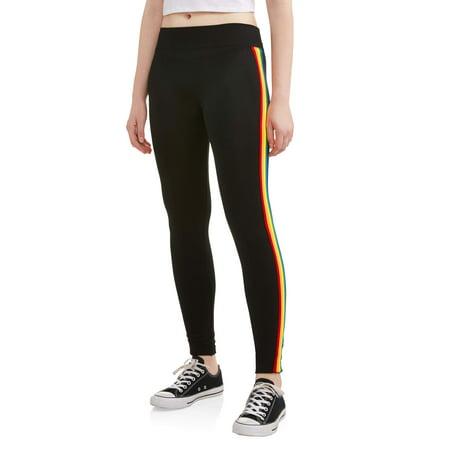 Juniors' Rainbow Side Stripe Leggings (Striped Leggings)