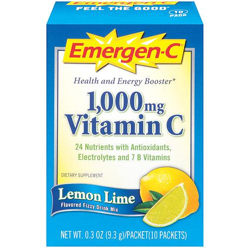 Emergen-C Lemon Lime Vitamin C Fizzy Drink Mix 1000mg, 10pk