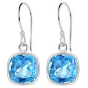 925 Sterling Silver Beautiful 3.5 Cwt Natural Cushion Blue Topaz Dangle Earrings By Orchid Jewelry For Women, Free Jewelry Velvet Pouch