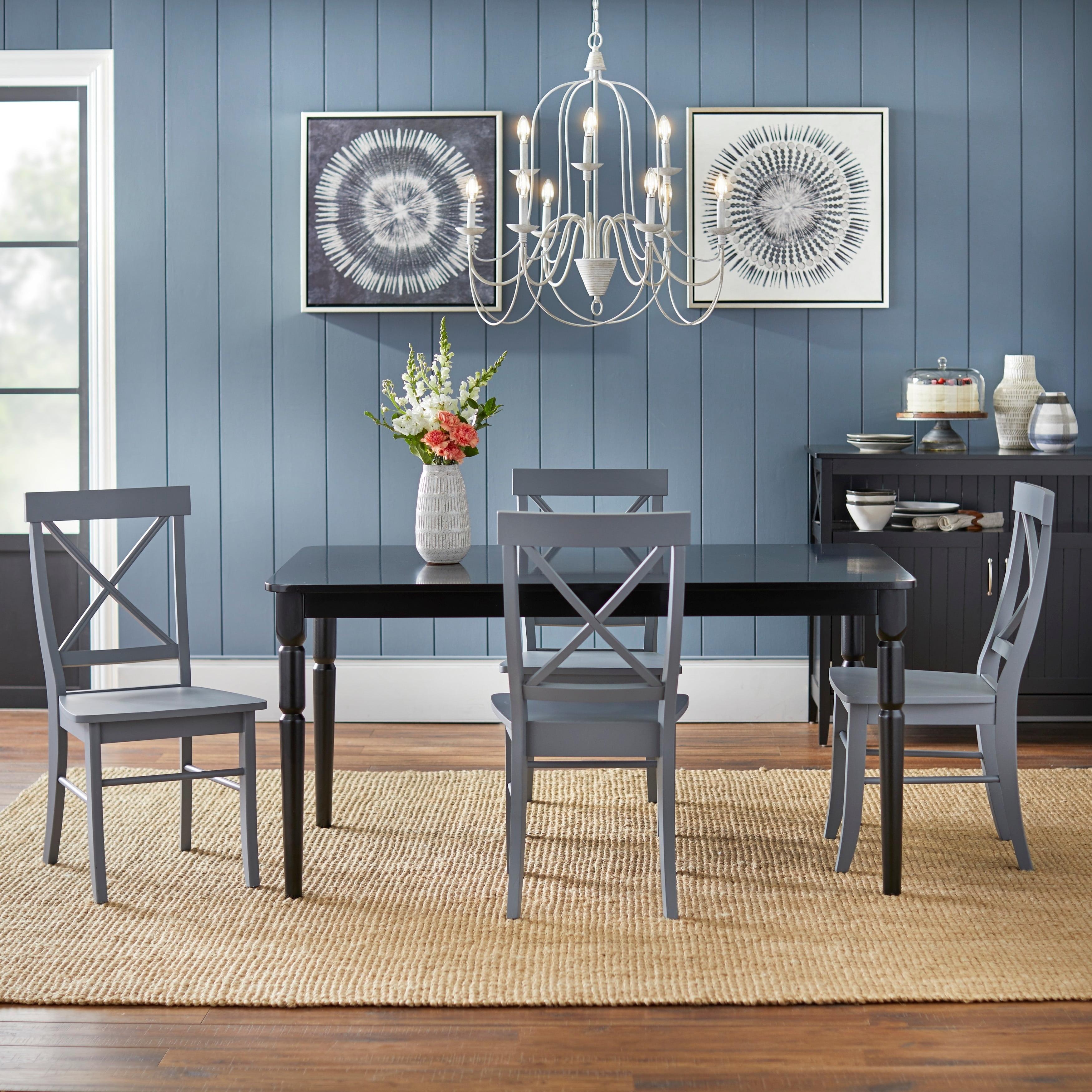 Picture of: Simple Living Albury Grey And Black Cross Back Dining Set 5 Piece Walmart Com Walmart Com