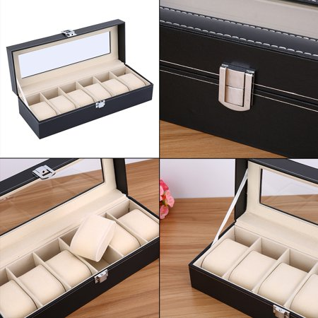 Mgaxyff Watch Box, Bracelet Storage Box,24 Grid Watch PU Leather Display Case Storage Jewellery Box Bracelet Tray Holder
