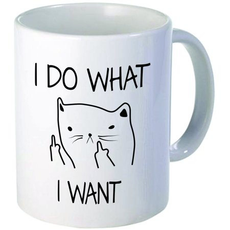 Tayyakoushi I do what I want cat face Pattern 11OZ ceramic coffee mug Best funny and inspirational Cup gift for family and (Christmas Gifts For The Best Friend)
