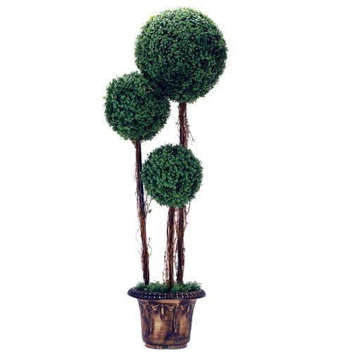 Fleur De Lis Living Artificial Tree Boxwood Topiary in Planter