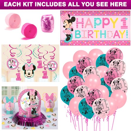 Minnie Mouse 1st Birthday Decoration Kit - Minnie Mouse Party Invitations
