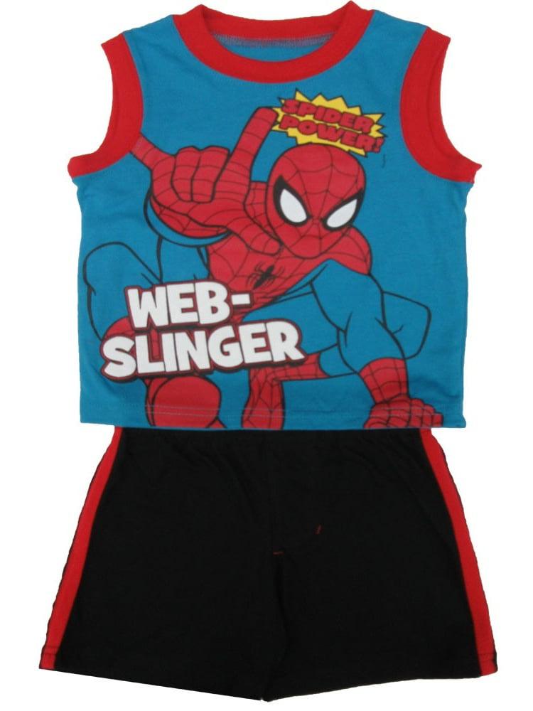 Marvel Little Boys Blue Spiderman Print Sleeveless Top 2 Pc Shorts Set