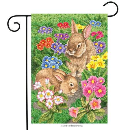 "Bunny Friends Easter Garden Flag Spring Floral Bunnies Briarwood Lane 12.5""x18"""