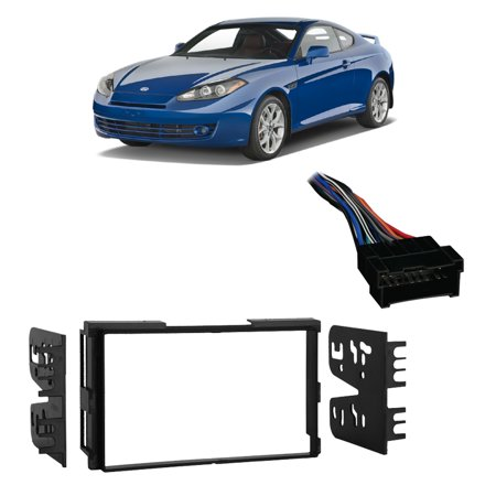 Fits Hyundai Tiburon 03-08 Double DIN Stereo Harness Radio Install Dash Kit