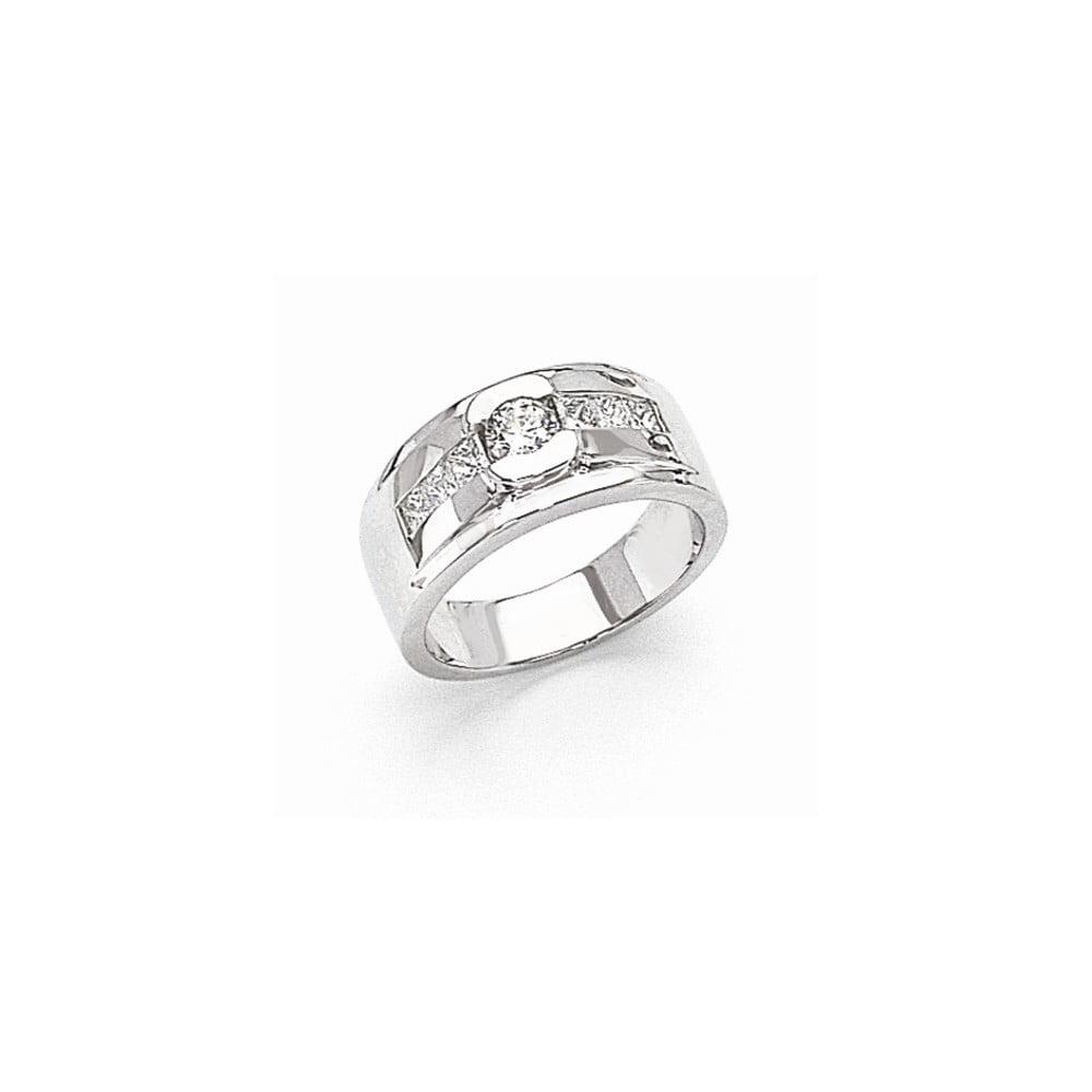 14k White Gold Polished Fine Brilliant Diamond men's Ring