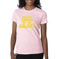 Trendy USA 715 - Women's T-Shirt Best Dad in The Galaxy Star Wars Opening Crawl 2XL Royal Blue