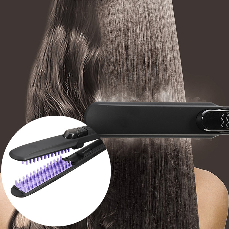 Professional Steam Dry & Wet Hair Straightener Brush Comb Ceramic Flat Iron Toothed Comb 5 Heating temperature Model
