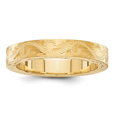 Roy Rose Jewelry 14K Yellow Gold Fancy Etched Design 5mm Wide Wedding Band Ring Size