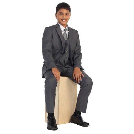 Boys Med Gray Vest Pants Jacket Necktie White Shirt 5 Pcs Suit Set 8-18