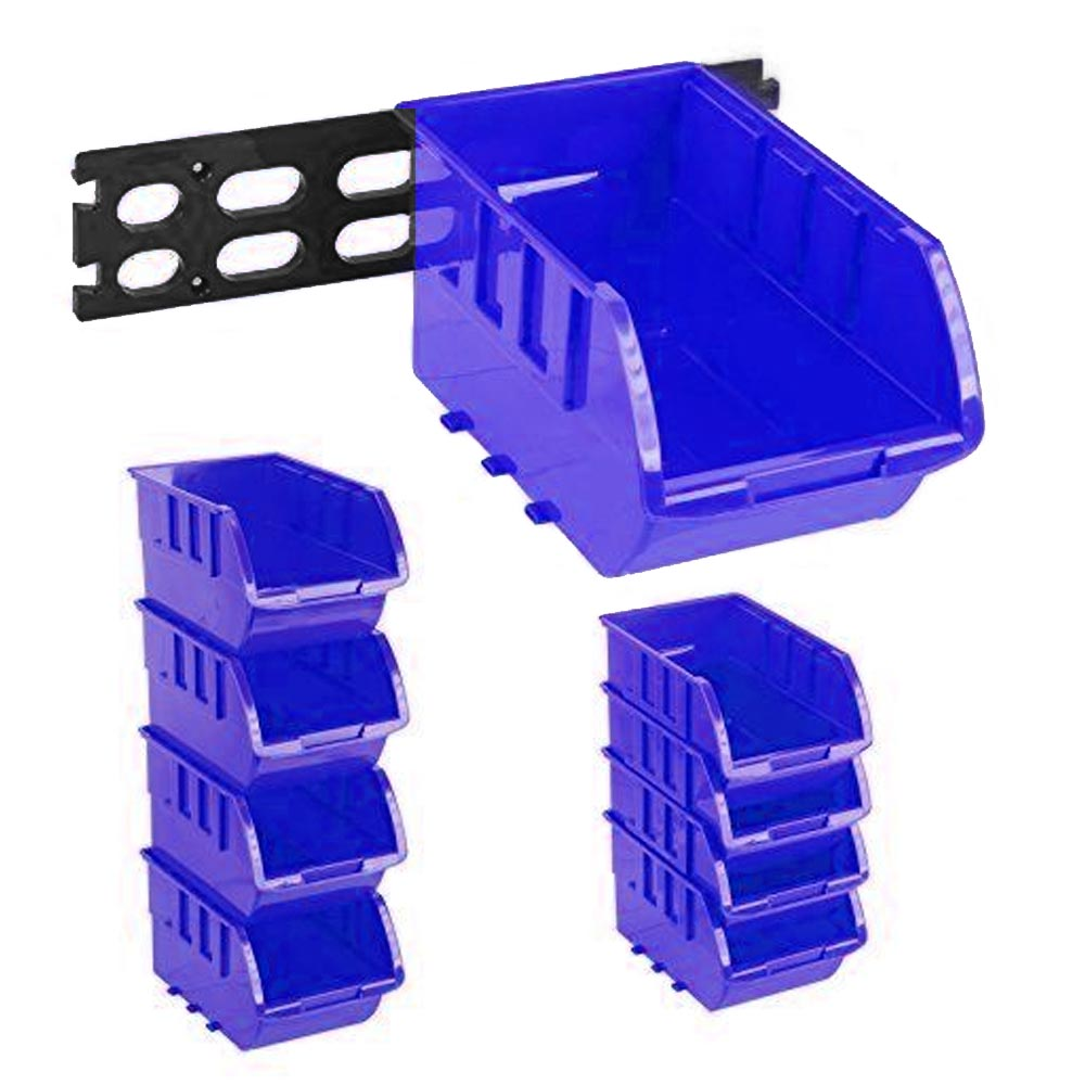 4 Large Stackable Plastic Storage Bins Container Organizer Parts Tray Wall  Mount   Walmart.com
