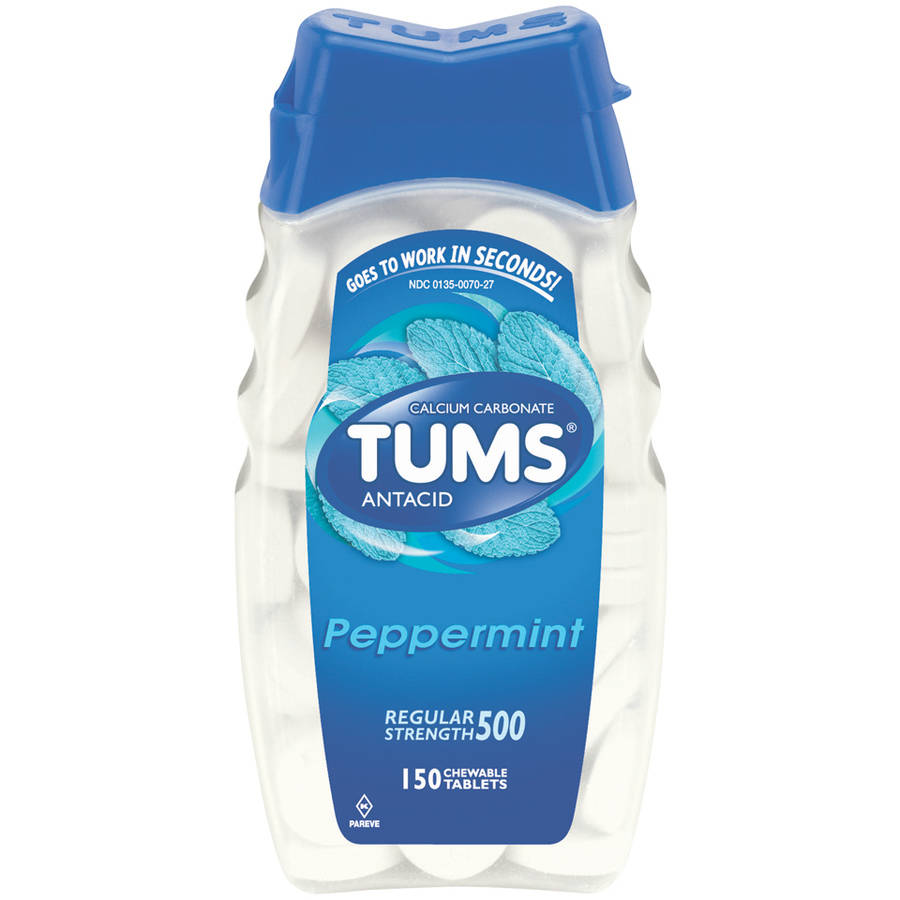 TUMS Antacid Regular Strength 500 Peppermint Chewable Tablets, 150 count