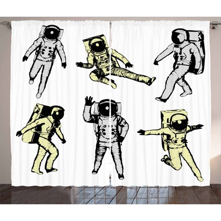 Astronaut Curtains 2 Panels Set, Astronauts with Various Movements Kicking Jumping Walking Space Science Fun, Window Drapes for Living Room Bedroom, 108W X 84L Inches, Black White, by Ambesonne