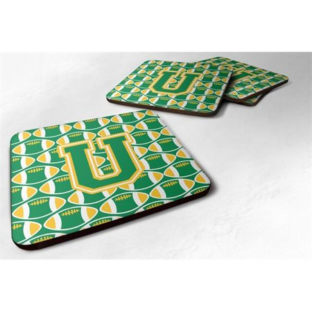 Carolines Treasures CJ1064-UFC Letter U Football Purple & Gold Foam Coaster, Set of 4 - image 1 de 1