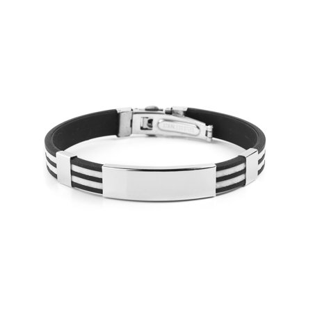 Two Tone Stainless Steel ID White Striped Rubber Bracelet (12mm) - 9