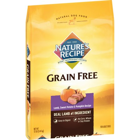 Nature's Recipe Grain Free Easy to Digest Lamb, Sweet Potato, and Pumpkin Recipe Dry Dog Food, 12-Pound Bag
