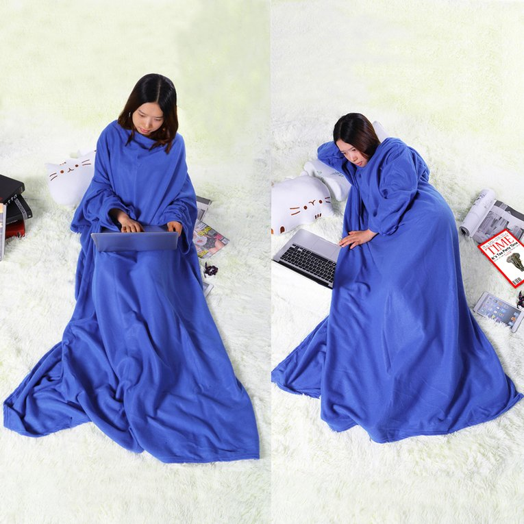 Supper Home Winter Warm Thick Microplush Fleece Snuggie Blanket Robe Cloak With Sleeves... by