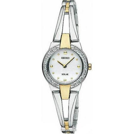 Seiko Womens Two Tone Analog Stainless Watch   Silver Bracelet   White Dial   Sup206