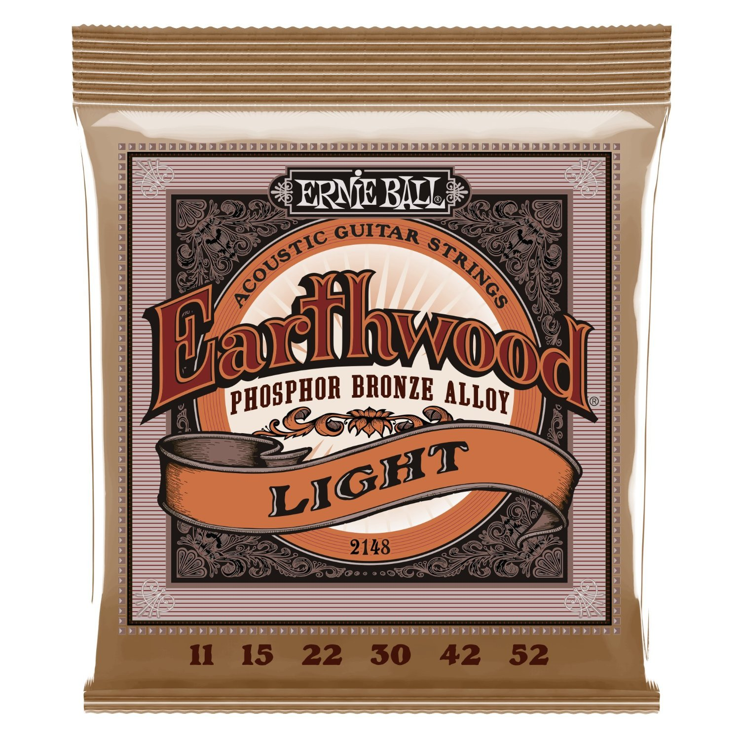 Ernie Ball Earthwood Light Phosphor Bronze Acoustic String Set, .011 .052 by Ernie Ball