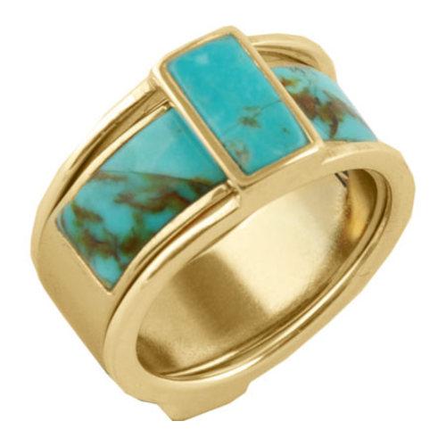 Women's Barse Genuine Turquoise Ring BFFLR03T01 (2 Piece)