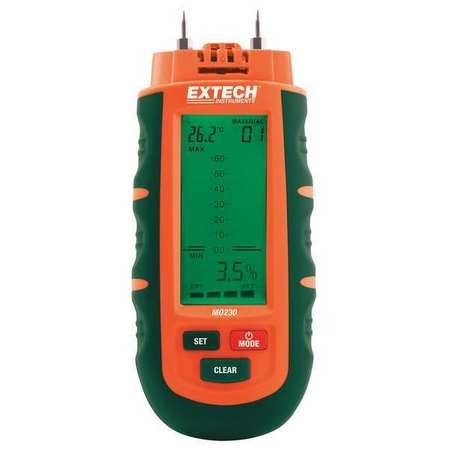 Moisture Meter Kit,1 to 75 per. (Wood) EXTECH MO230 by Extech