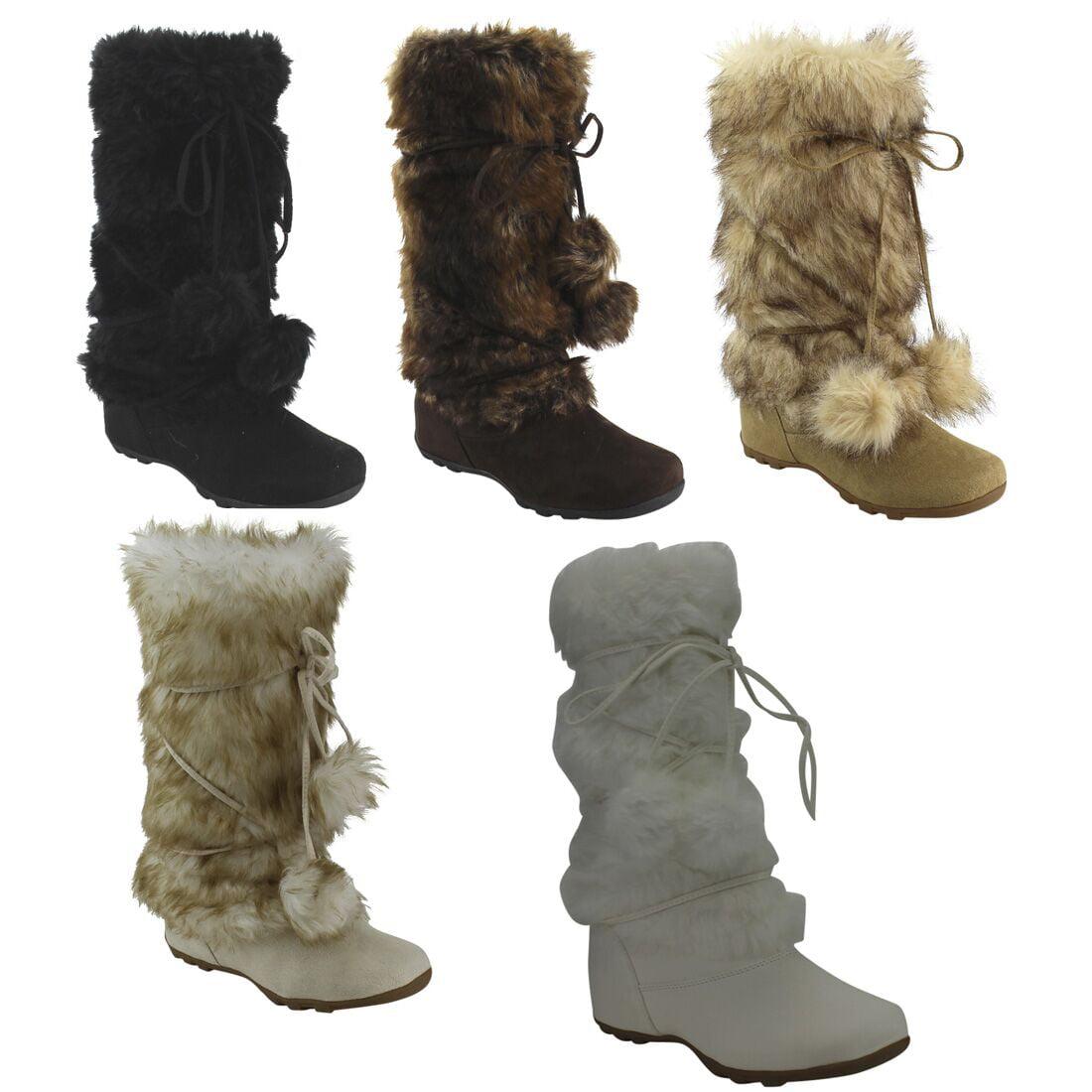 Mid-Calf Pom-Poms Flat Boots - Walmart