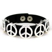 Silver-tone Peace Adjustable Button Closure Black Cord Bracelet May your heart be strong