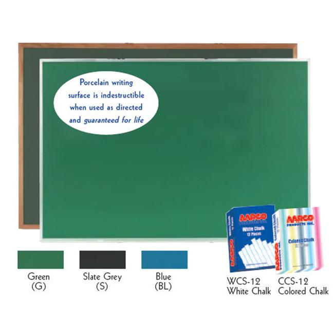 Aarco Products OS48120S Porcelain on Steel Chalkboard Red Oak Frame - Slate Grey