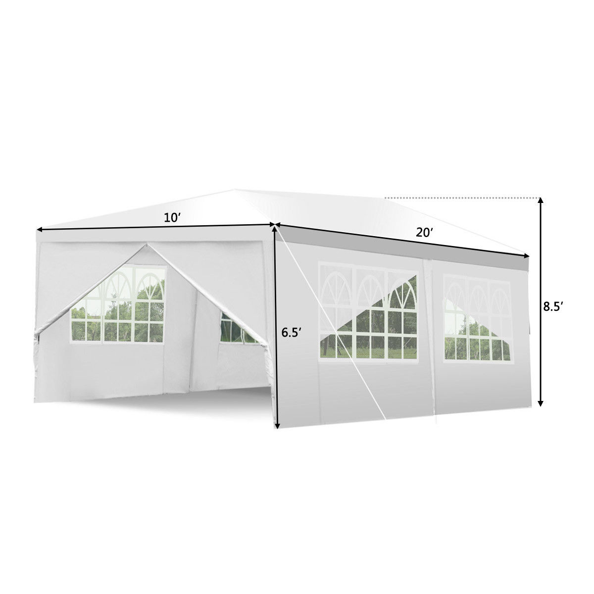 Wedding Tent Canopy Party 10'x20' Heavy Duty Gazebo Cater Event W/ Side Walls - image 1 of 10